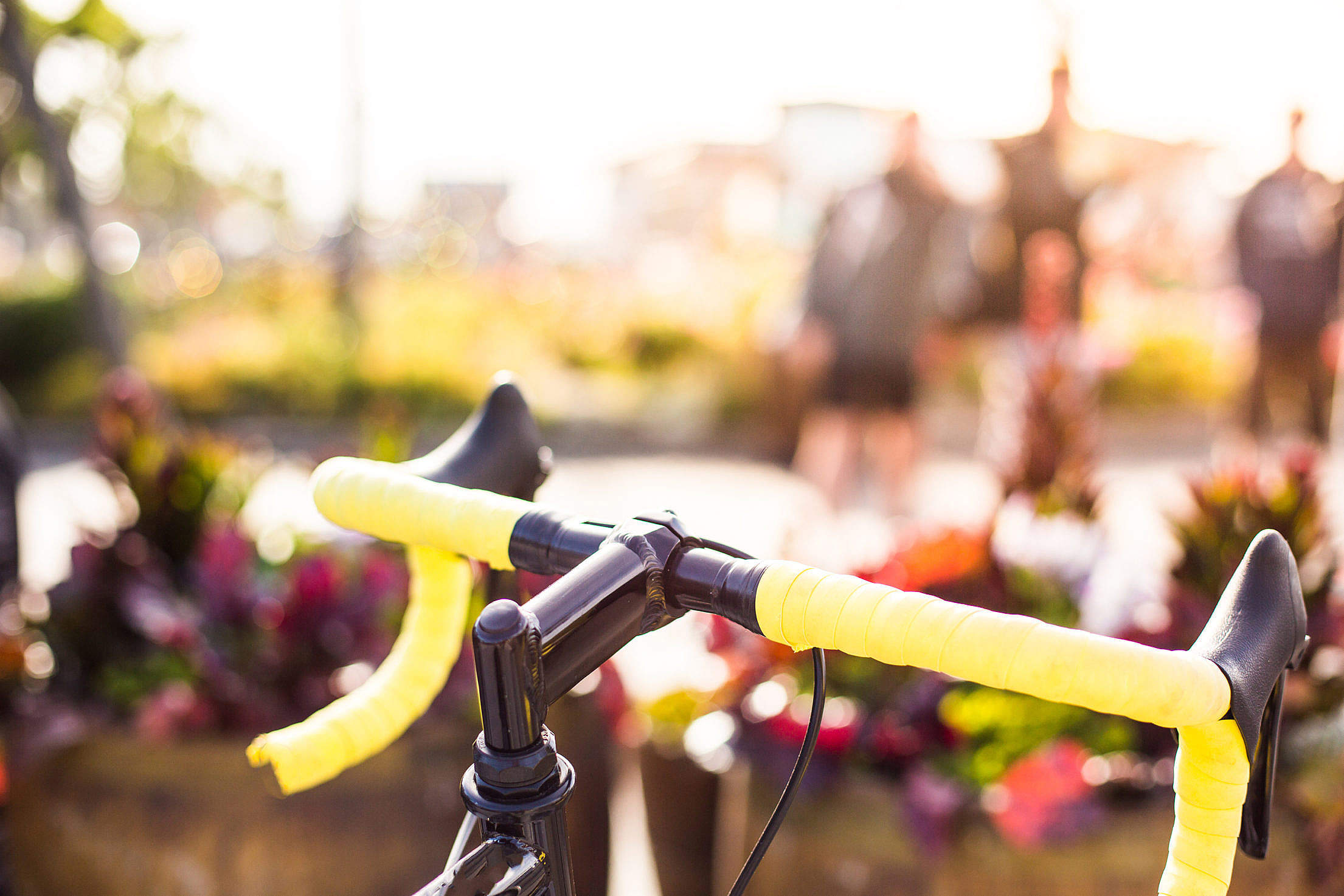 Yellow Bicycle Handlebars Close Up Free Stock Photo