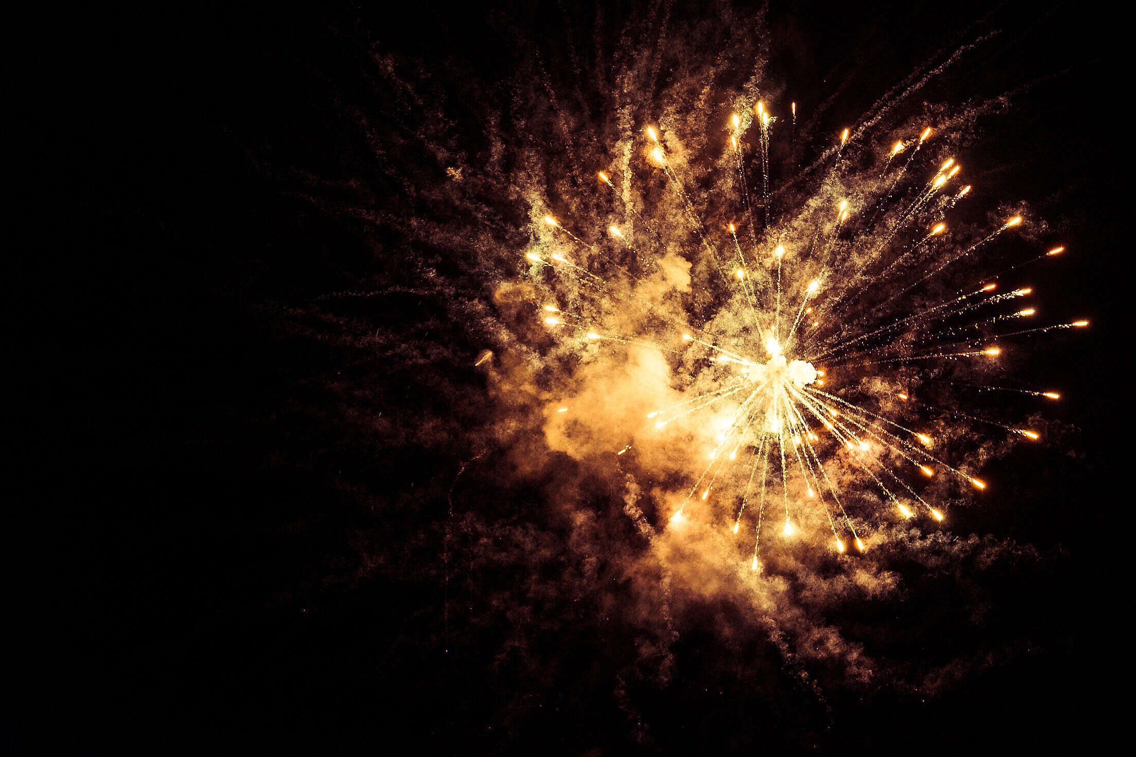 Yellow Fireworks Free Stock Photo
