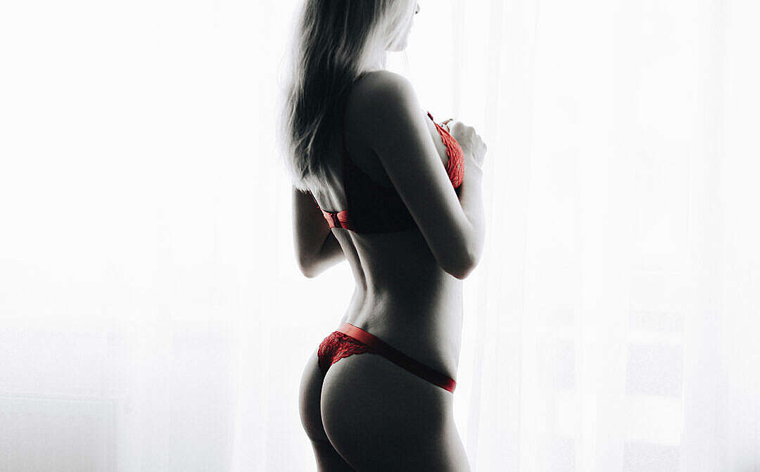 Download Young Blonde Woman in Red Lingerie Standing at Bright Window FREE Stock Photo
