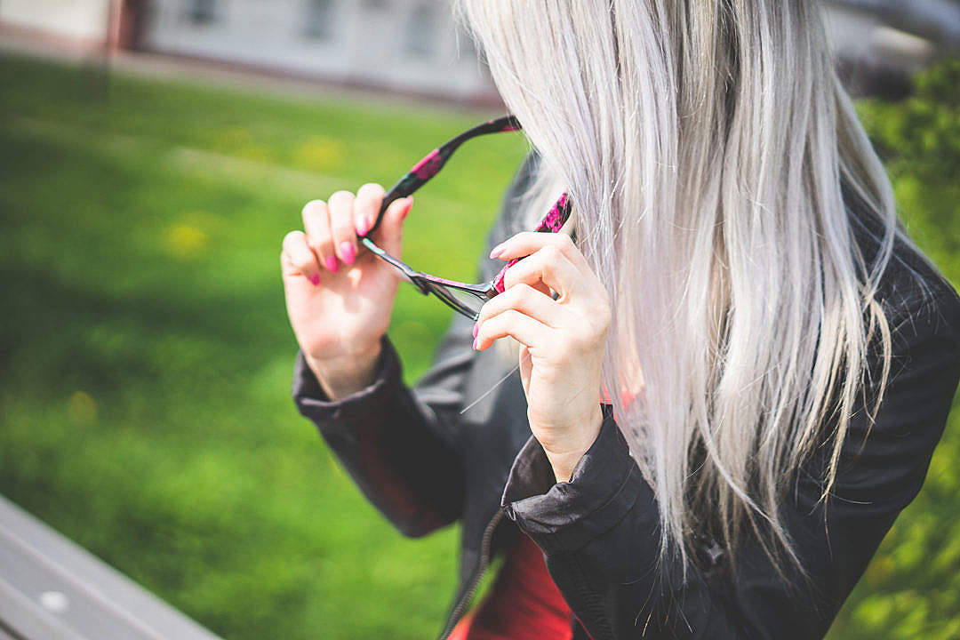 Download Young Blonde Woman with Fashion Eyewear FREE Stock Photo