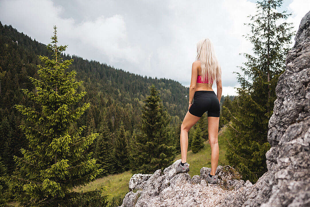 Download Young Fitness Woman Hiker Enjoying the View of Nature FREE Stock Photo