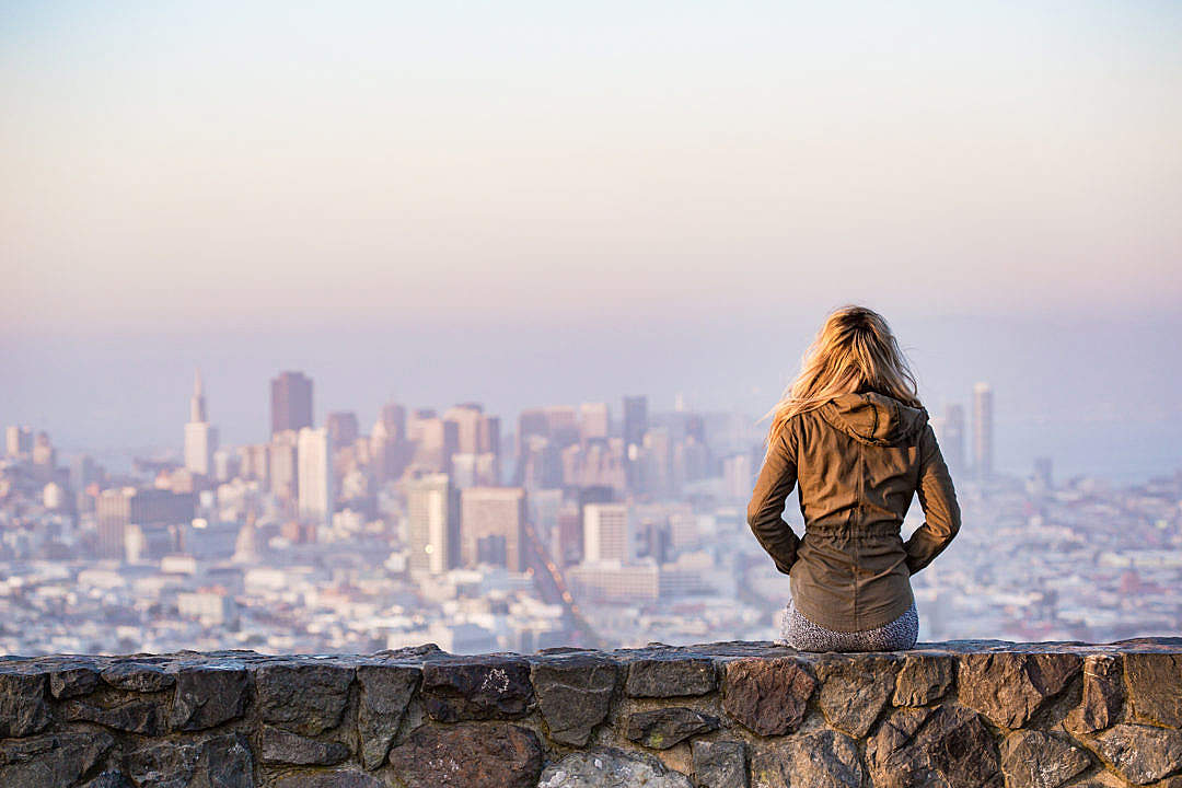 Download Young Girl Enjoying Moment and Looking Over the San Francisco FREE Stock Photo