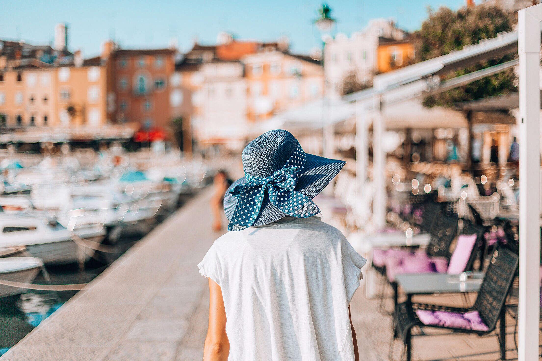 Young Girl Walking in Croatian City Rovinj Free Stock Photo
