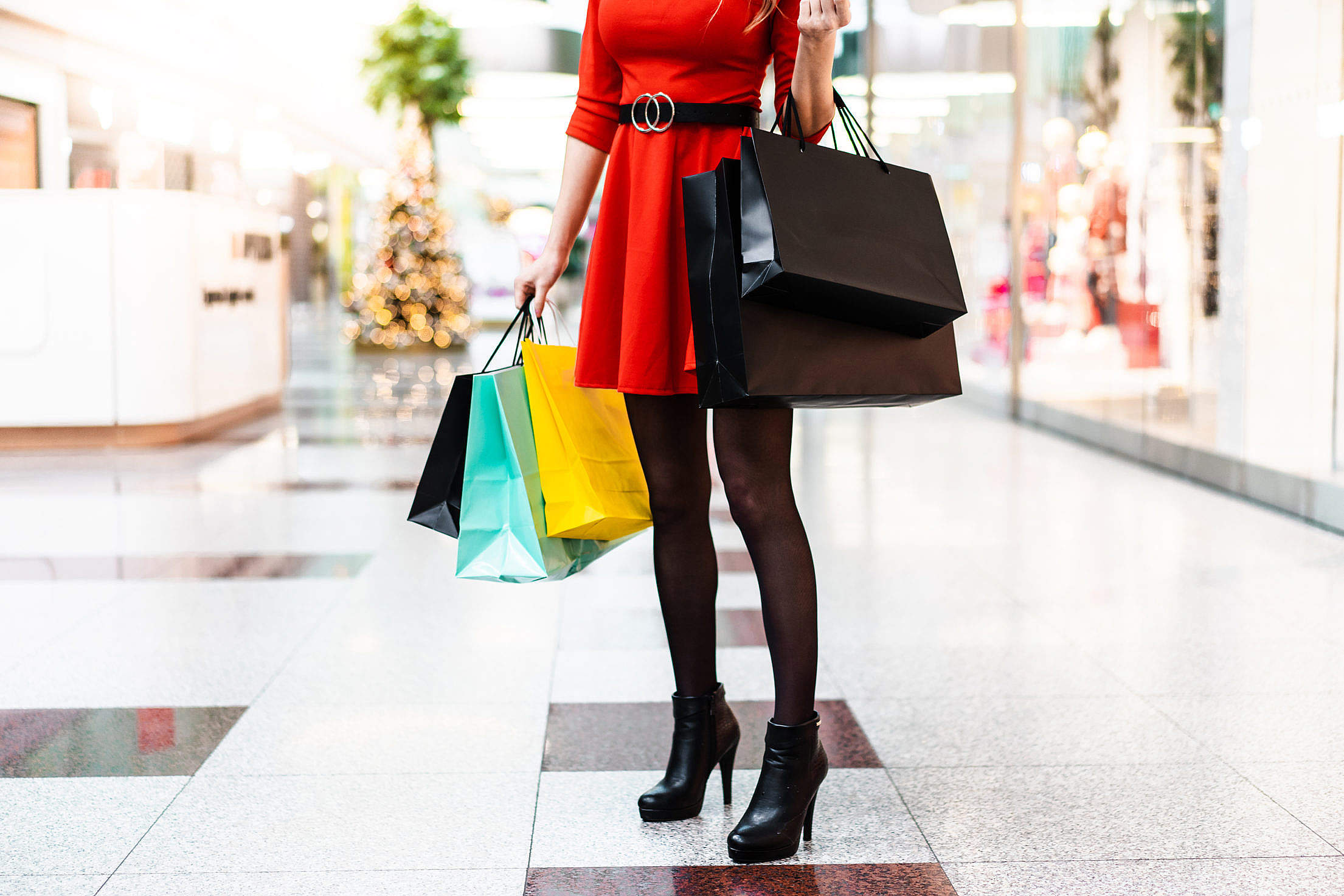 Young Lady After Christmas Shopping Free Stock Photo