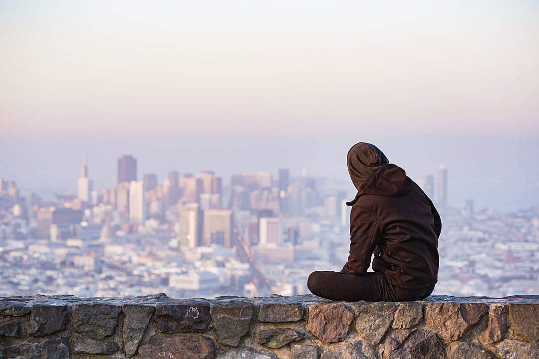 Download Young Man Enjoying Moment and Looking Over the San Francisco FREE Stock Photo