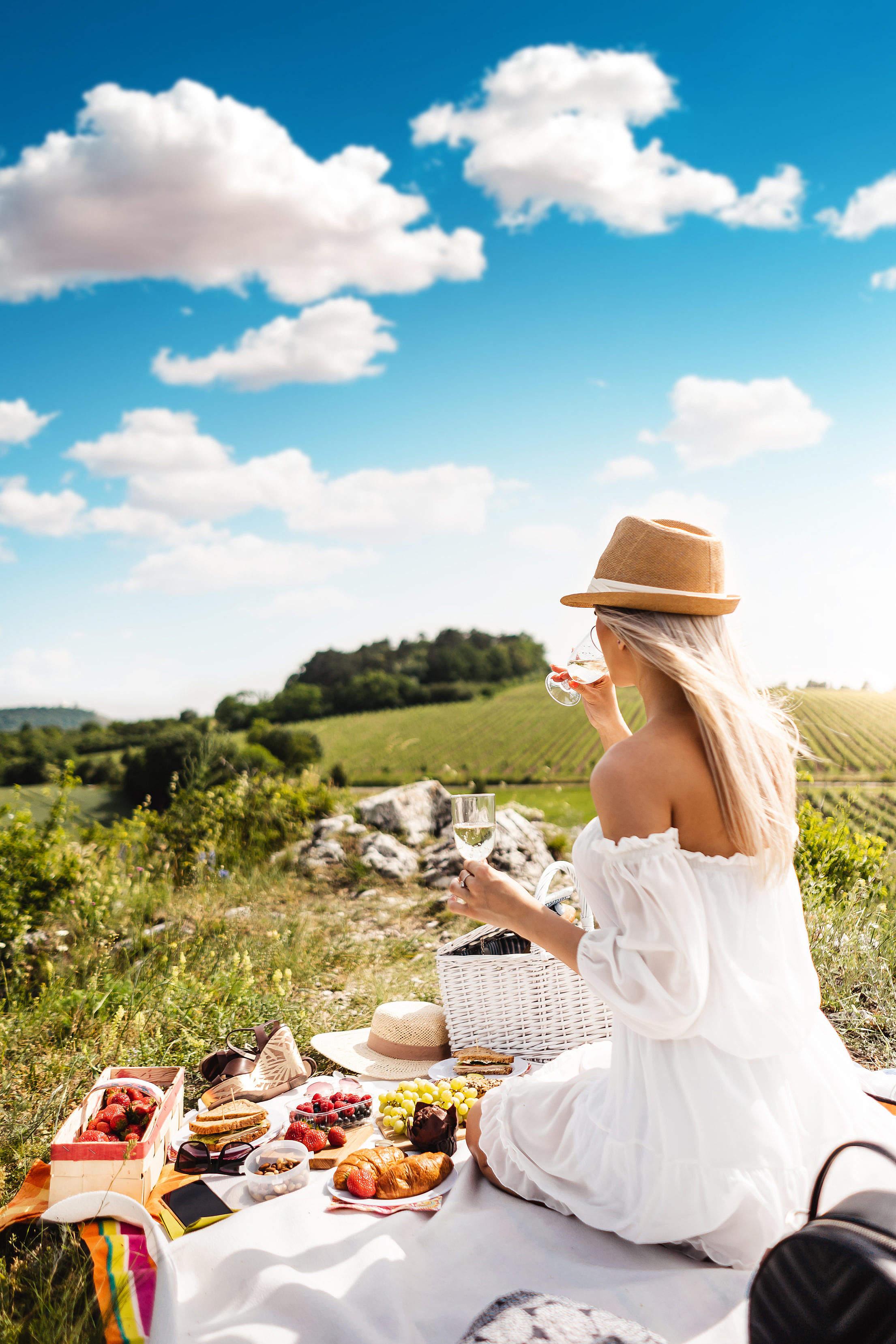 Young Woman Enjoying a Picnic Free Stock Photo