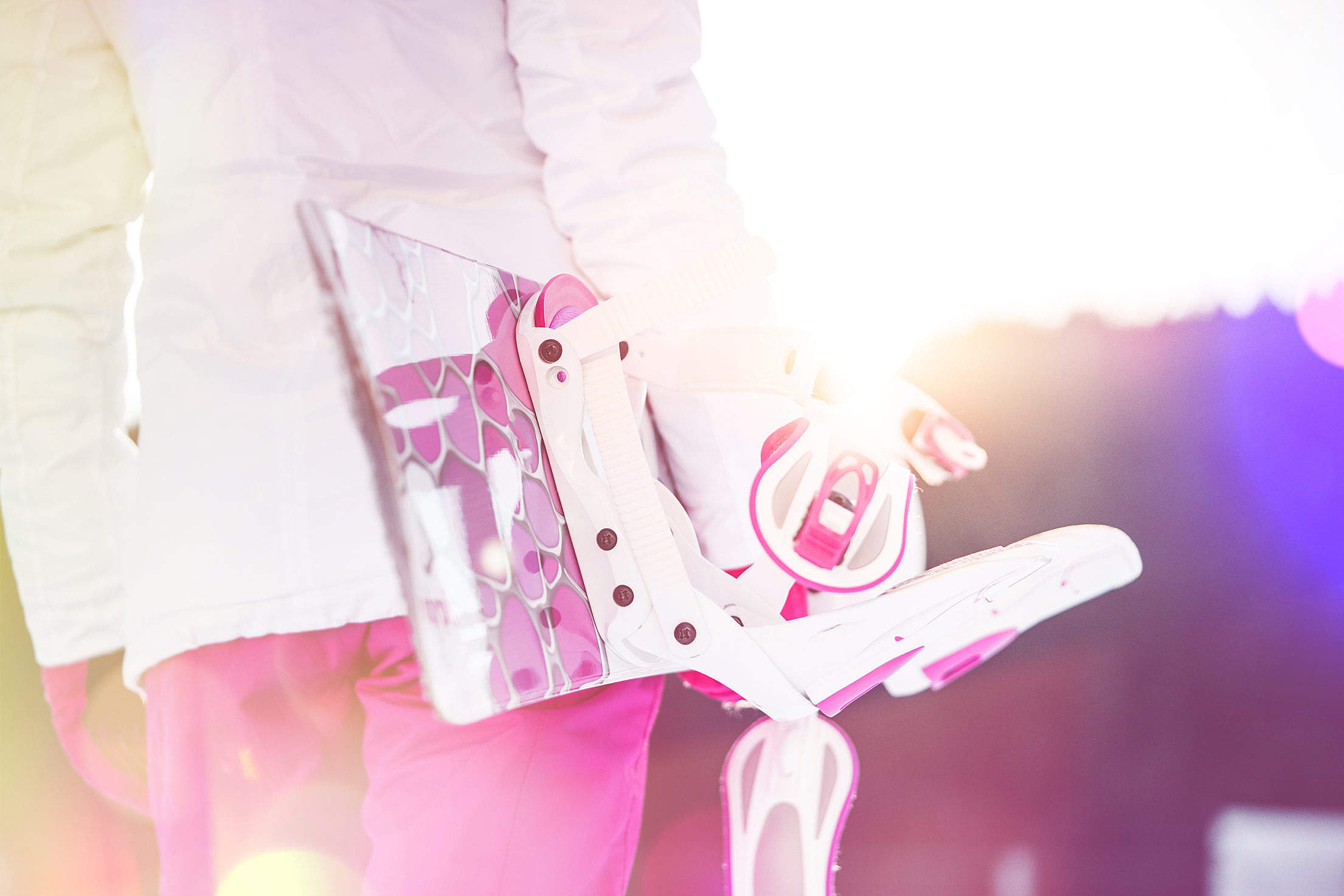 Young Woman Holding Her Pink Snowboard Free Stock Photo