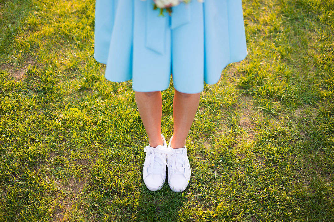 Download Young Woman in Baby Blue Skirt FREE Stock Photo