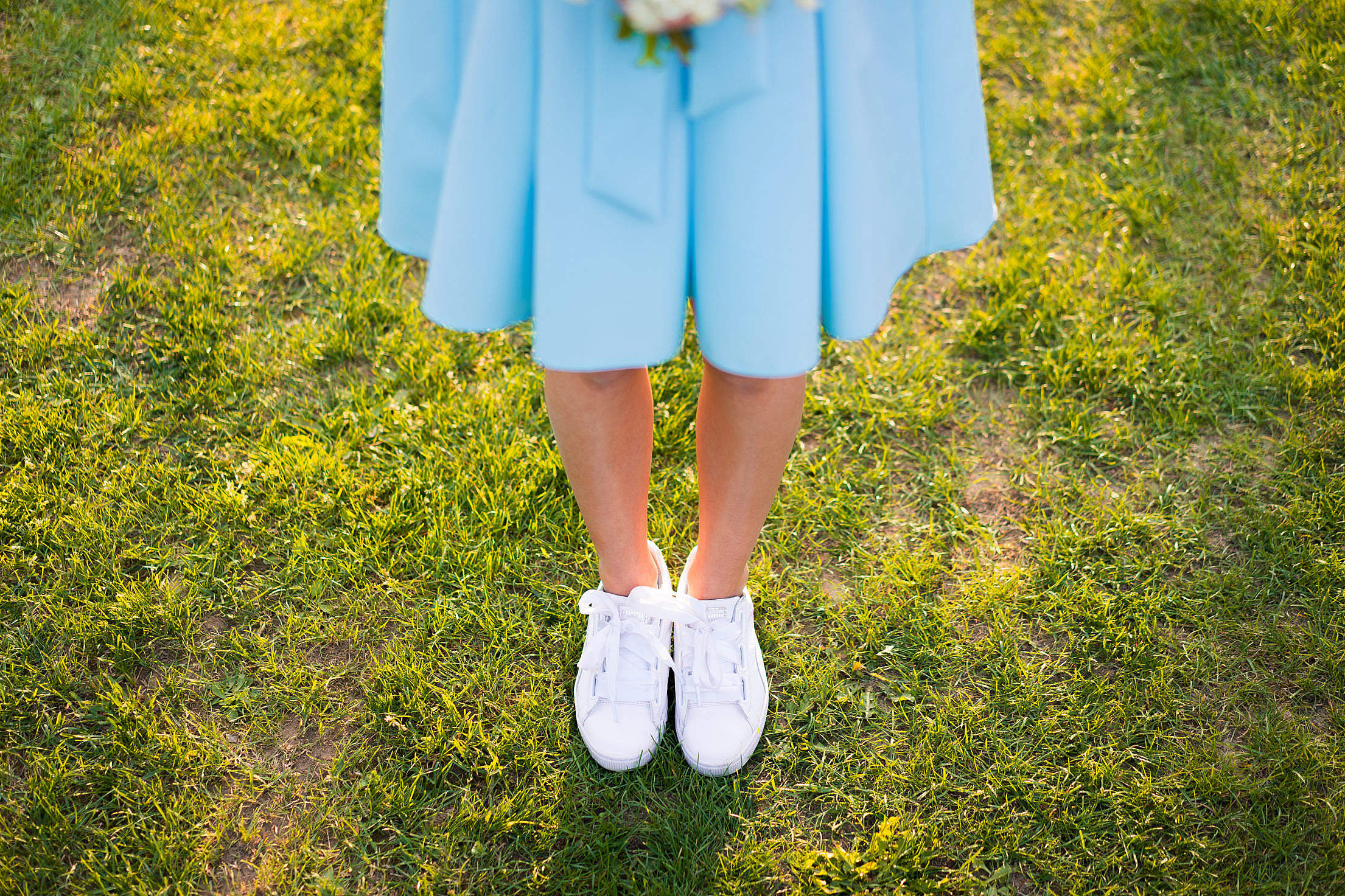 Young Woman in Baby Blue Skirt Free Stock Photo
