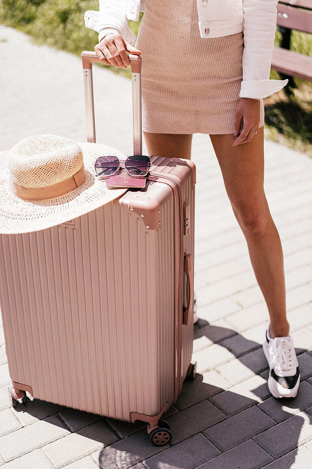 Download Young Woman is Ready for Summer Vacation FREE Stock Photo