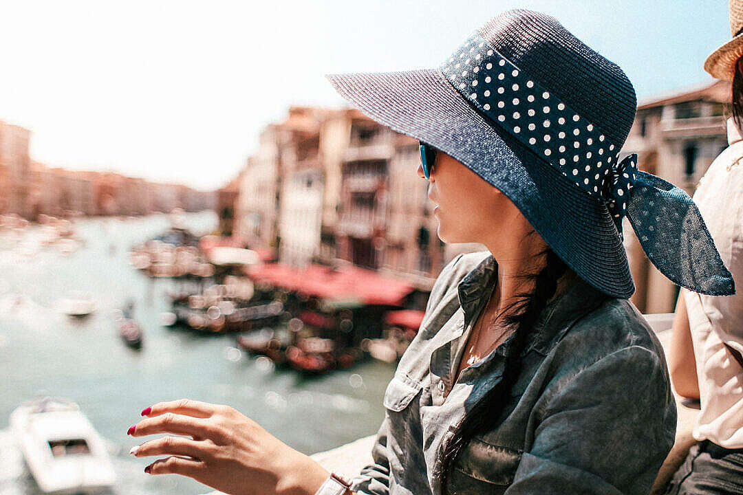 Download Young Woman on Rialto Bridge in Venice, Italy FREE Stock Photo