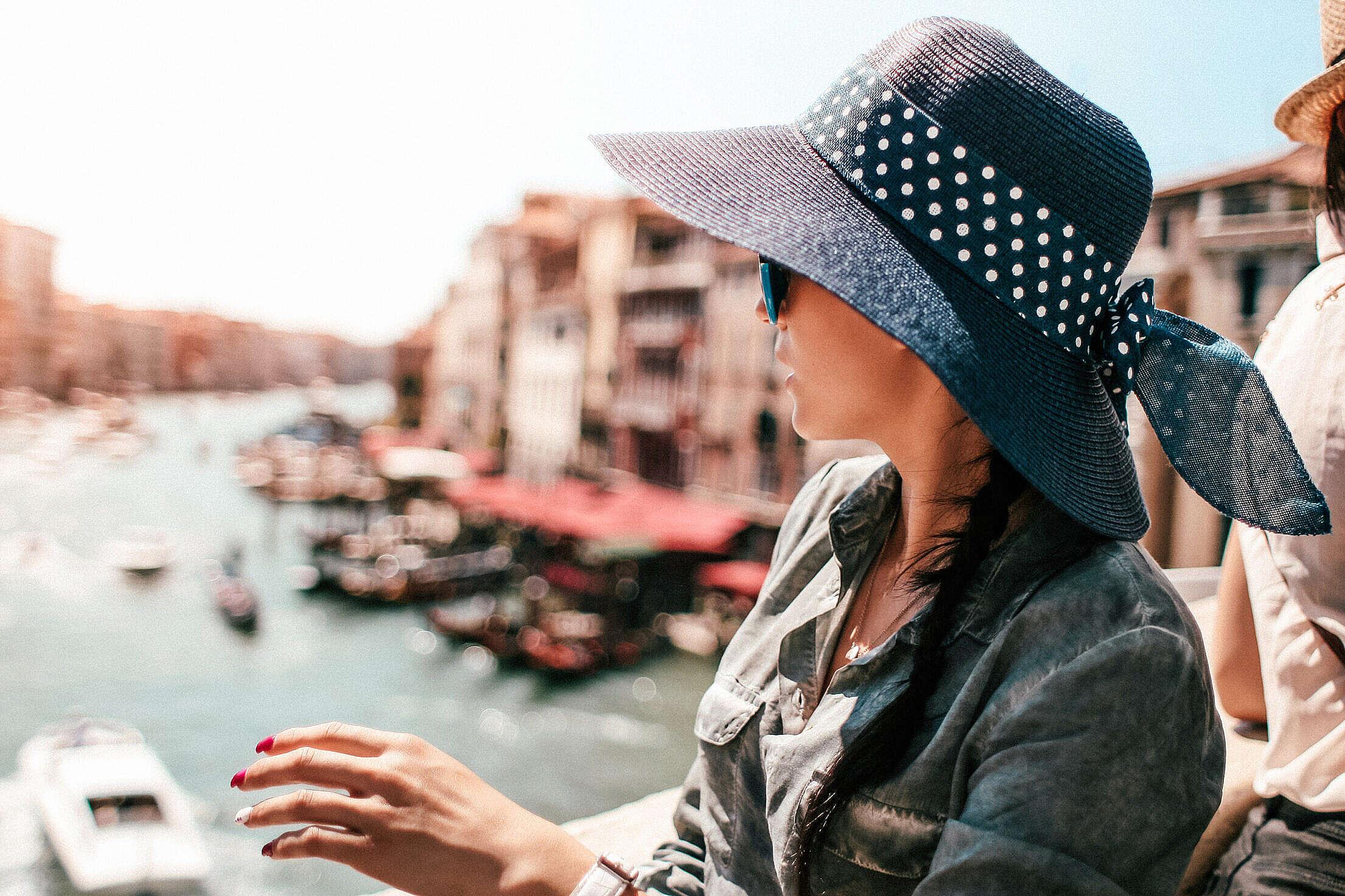 Young Woman on Rialto Bridge in Venice, Italy Free Stock Photo