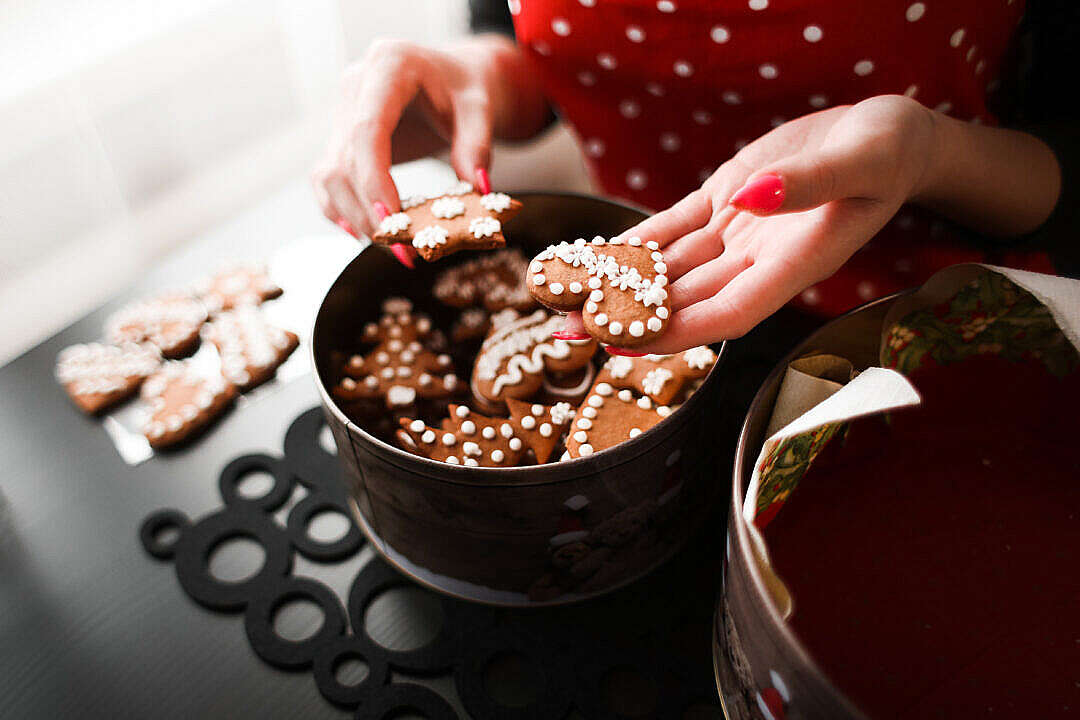 Download Young Woman Showing Freshly Baked Christmas Cookies FREE Stock Photo
