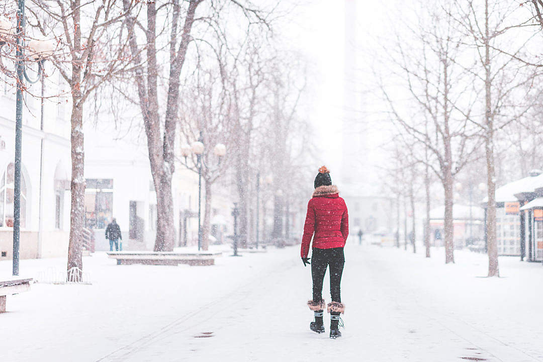Download Young Woman Walking Alone in The Park in Snowy Weather FREE Stock Photo