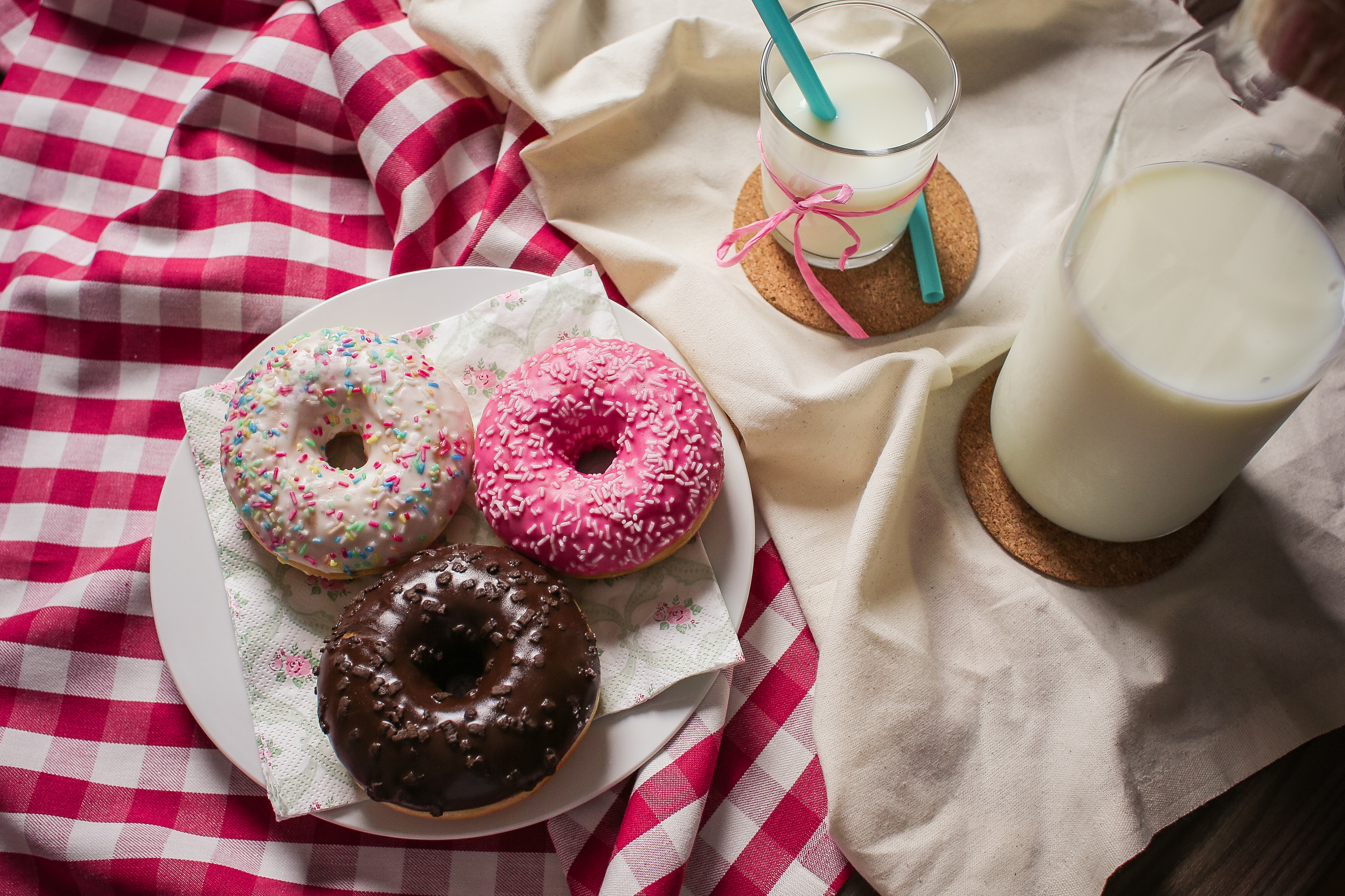 Download Yummy Donuts and Milk FREE Stock Photo