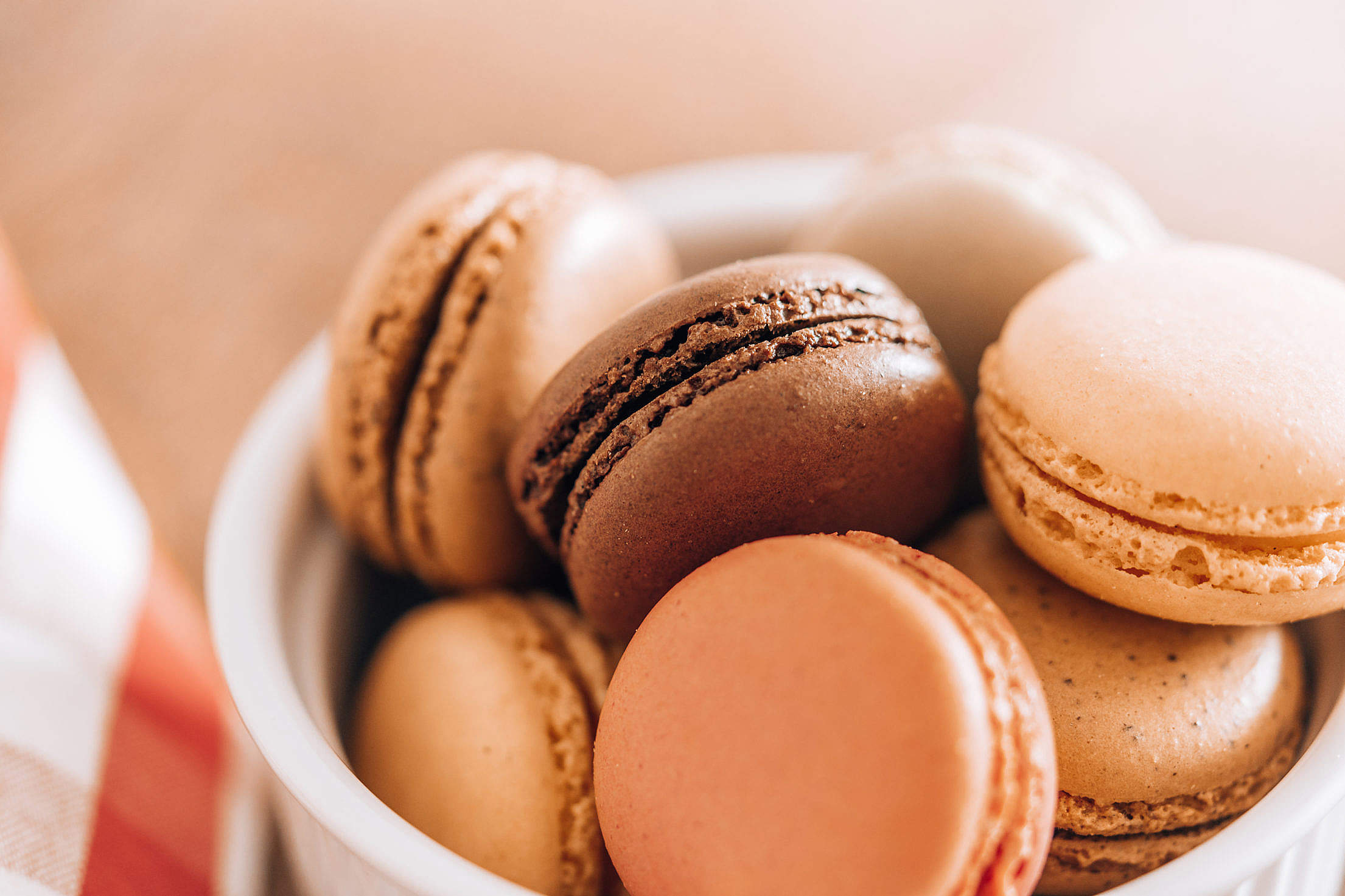 Yummy Homemade Macarons in a Bowl Free Stock Photo
