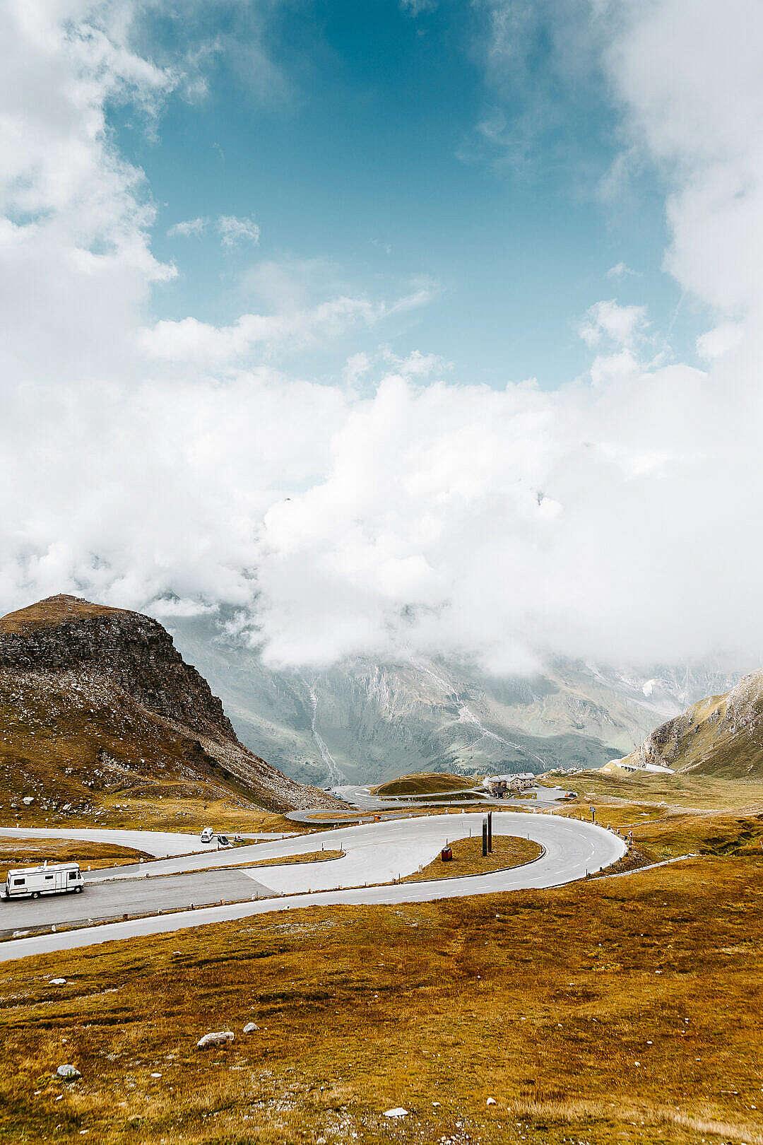 Download ZigZag Turns on Grossglockner High Alpine Road, Austria FREE Stock Photo