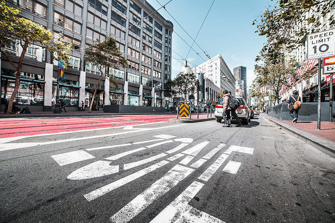 Download ZONE Road Marking on San Francisco Street FREE Stock Photo